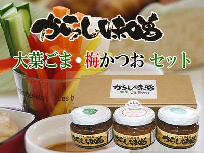 無添加からし味噌 大葉ごま・梅かつお味 セット品[送料別]