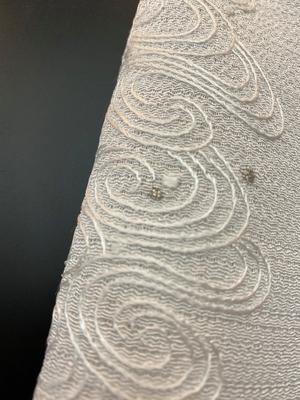 半衿 絽縮緬 刺繍 夏物 流水 白 正絹 和装小物 ※販売のみ