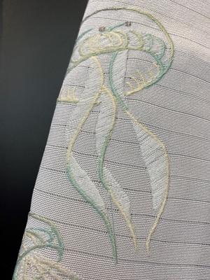 半衿 絽 刺繍 夏物 海月 くらげ 白 正絹 衿秀 和装小物 ※販売のみ