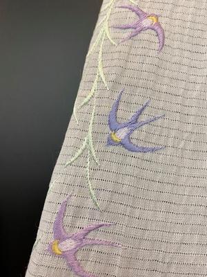 半衿 麻絽 刺繍 夏物 ツバメ 燕 柳 白 麻 小千谷縮 和装小物 ※販売のみ