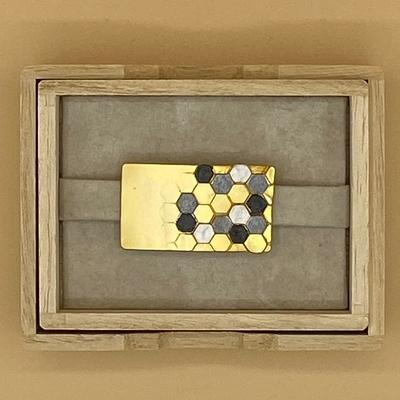帯留め 蜂の巣 ゴールド 金白黒グレー 長方形 六角形 帯どめ ※販売のみ