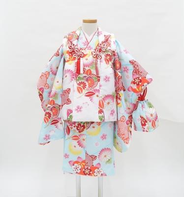 七五三 3才 女の子 着物 祝い着 レンタル3泊4日 水色 白 橘と菊 ポリエステル