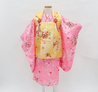 七五三 3才 女の子 着物 祝い着 レンタル3泊4日 ピンク 黄色 毬 桜 うさぎ ポリエステル