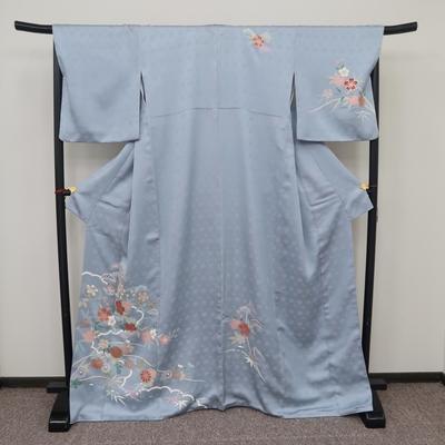 レンタル3泊4日 訪問着 正絹 袷 青灰色 桜 橘 菊 松 竹模様