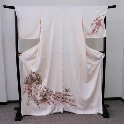 レンタル3泊4日 訪問着 正絹 袷 扇と花鳥 金彩