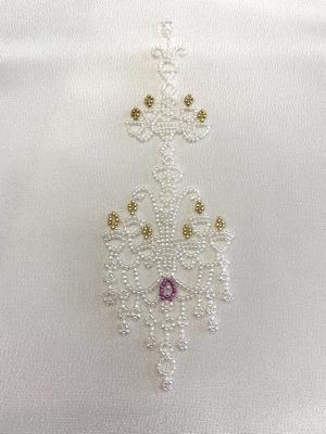 半衿 シャンデリア ビーズ刺繍 衿秀 ポリエステル 和装小物 ※販売のみ