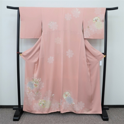 レンタル3泊4日 訪問着 正絹 袷 花どり疋田 和楽器と牡丹菊梅