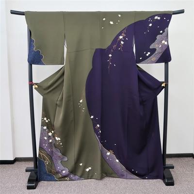 レンタル3泊4日 訪問着 正絹 袷 桜枝 濃い紫と緑