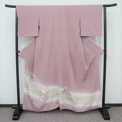 レンタル3泊4日 色留袖 一つ紋 正絹 袷 王朝文様 色紙と文箱