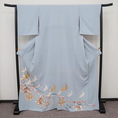レンタル3泊4日 色留袖 一つ紋 正絹 袷 翔鶴と熨斗と松皮菱