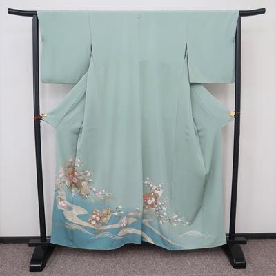 レンタル3泊4日 色留袖(比翼なし) 洒落紋 正絹 袷 花鳥色紙と流水