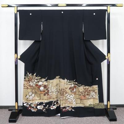 レンタル3泊4日 黒留袖 ポリエステル 袷 違い棚に花籠と扇面