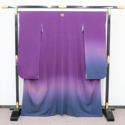 1月レンタル 振袖 正絹 無地振袖 紫ぼかし