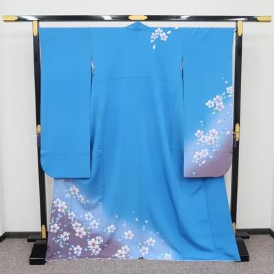 2月~12月のレンタル 振袖 正絹 コバルトブルー 桜花