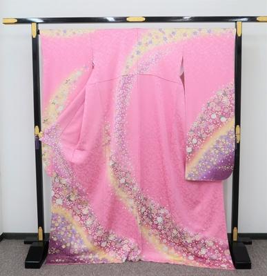 1月のレンタル 振袖 正絹 ピンク系 桜はなびら