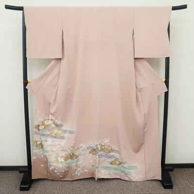 レンタル3泊4日 色留袖(比翼なし) 一つ紋 正絹 袷  雲波文に金扇地紙