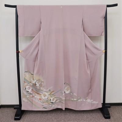 レンタル3泊4日 色留袖 一つ紋 正絹 袷 鶴の丸と熨斗