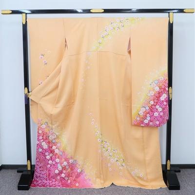 2月~12月のレンタル 振袖 正絹 黄色系 マゼンタ色ぼかし