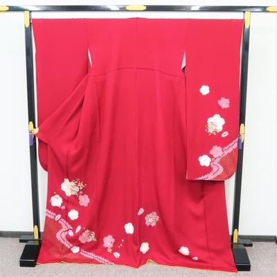 1月のレンタル 振袖 正絹 赤系 桜と鹿の子の流水紋