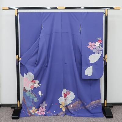 1月のレンタル 振袖 正絹 紫系 桜に麻の葉と菊の流水紋