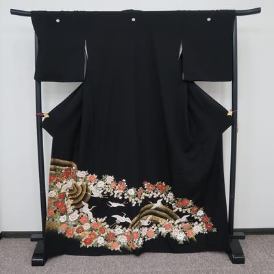 レンタル3泊4日 黒留袖 正絹 袷 鶴と牡丹と楓