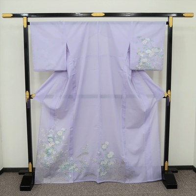レンタル3泊4日 夏訪問着 化繊 絽 薄紫 四季の花と流水