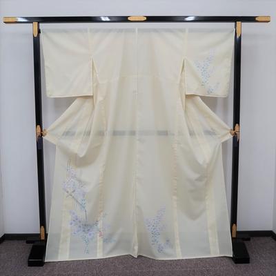レンタル3泊4日 夏訪問着 化繊 絽 薄黄色 撫子と桔梗に竹樋