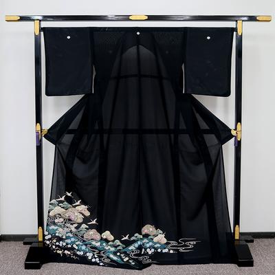 レンタル 夏黒留袖 絽 正絹 観世水に笠松と鶴と四季の花