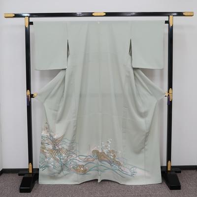 レンタル3泊4日 夏色留袖 一つ紋 絽  正絹 網干と苫舟と水辺の葦