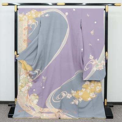 2月~12月のレンタル 振袖 正絹 几帳と雲取りに桜