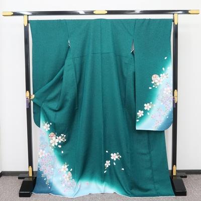1月のレンタル 振袖 正絹 金緑に桜と手毬