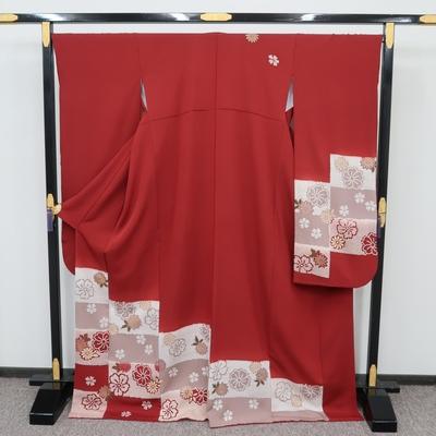 2月~12月のレンタル 振袖 正絹 赤系 変わり市松段文