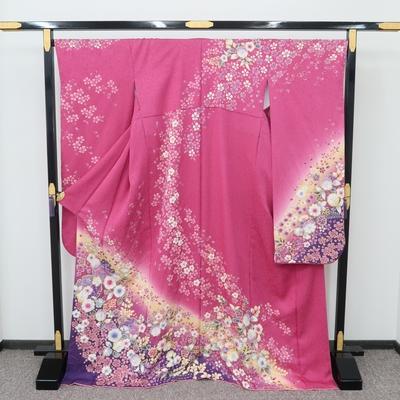 2月~12月のレンタル 振袖 正絹 ピンク系 辻が花調 金通し紫ぼかしに桜