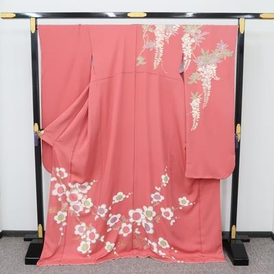 1月のレンタル 振袖 正絹 ピンク系 梅と藤