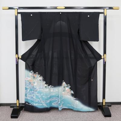 レンタル3泊4日 夏黒留袖 絽 正絹 流水紋に菊と柳