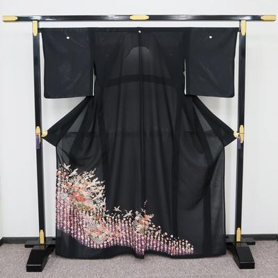 レンタル 夏黒留袖 絽 正絹 枝垂れ桜と花車