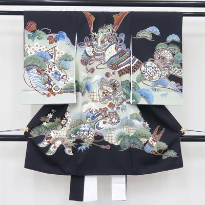 お宮参り祝い着 掛け着 熨斗目 レンタル3泊4日 正絹 男の子用 兜と松