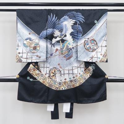 お宮参り祝い着 掛け着 熨斗目 レンタル3泊4日 化繊 男の子用 鷹と兜