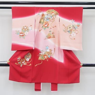 お宮参り祝い着 掛け着 熨斗目 レンタル3泊4日 正絹 女の子用 金彩 毬と扇に花