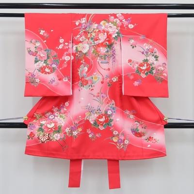 お宮参り祝い着 掛け着 熨斗目 レンタル3泊4日 化繊 女の子用 花籠と花車と蝶