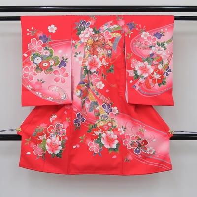 お宮参り祝い着 掛け着 熨斗目 レンタル3泊4日 化繊 女の子用 牡丹桜と束ね熨斗と鼓