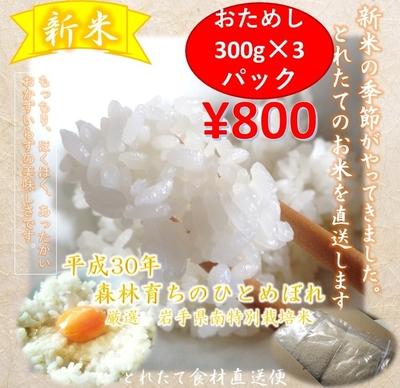ひとめぼれ900g 新米お試し品 ネコポス便 800円