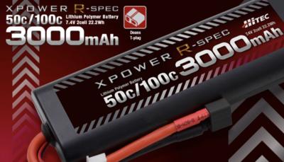 XPOWER R-SPEC [エックスパワー Rスペック] Li-Po 7.4V 3000mAh 50C/100C T型 ディーンズコネクター