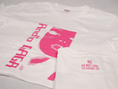 GAGATシャツ ホワイトボディ/ピンクプリント(Web限定)