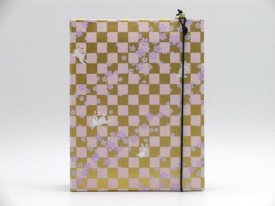 手染め友禅和紙 写真立て(L判サイズ)「うさぎ市松」ピンク3519