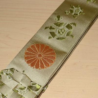 真言宗 折五条 亀遊地紋 白茶 十六菊紋