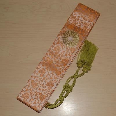 日蓮宗 折五条 小花柄 木蘭色