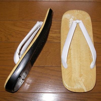 平ウレタン底 白デラ草履 男性用 M(24cm)、L(25cm)