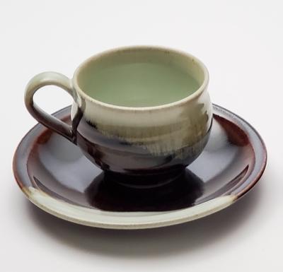 Kokujiyaki Pottery Cup and Saucer