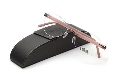 薄型レンズ付メガネセット Silhouette INSPIRE インスパイア 5506-6242 ピンク/マットブラウン